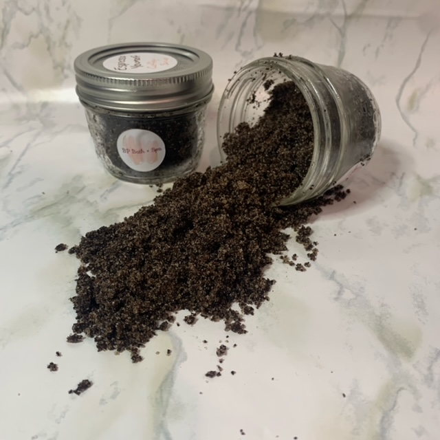 Body scrub made with coffee and sugar for natural exfoliating effects.